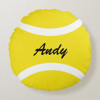 Personalized round yellow tennis ball throw pillow round pillow