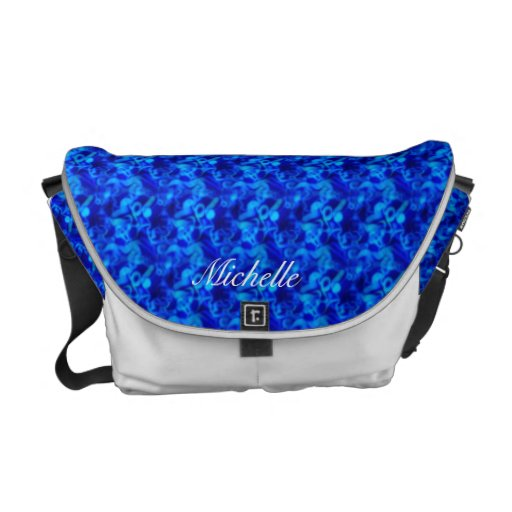 Personalized Royal Blue Abstract Messenger Bag