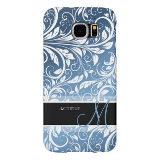 Personalized Royal Blue & White Floral Damask Samsung Galaxy S6 Cases