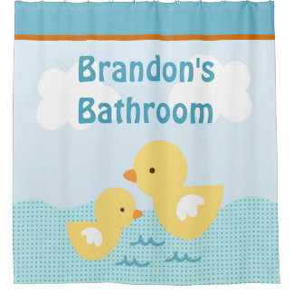 Personalized Rubber Duckies Kid's Shower Curtain