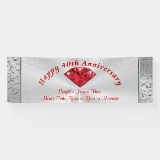 Personalized Ruby 40th Anniversary Banners