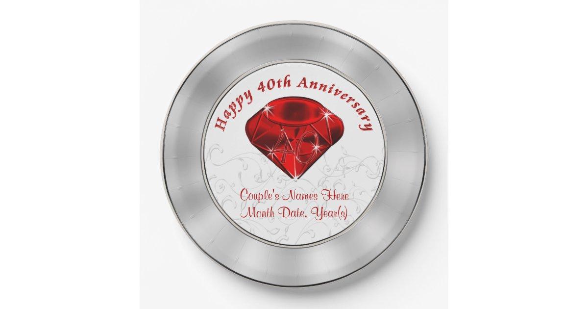 Personalized Ruby 40th Anniversary Paper Plates Zazzle