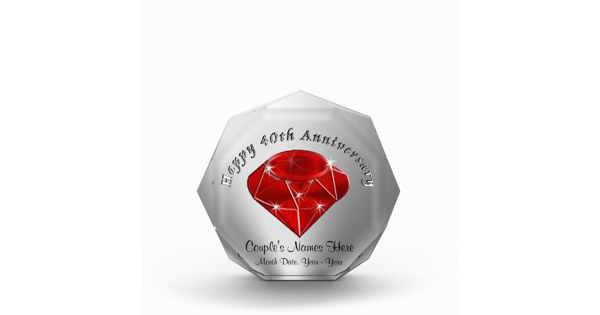 Gifts For A Ruby Wedding Anniversary: Personalized Ruby 40th Wedding Anniversary Gifts