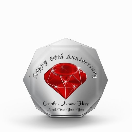 Traditional Gifts For Wedding Anniversaries: Personalized Ruby 40th Wedding Anniversary Gifts Award