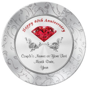 Personalized Ruby 40th Wedding Anniversary Gifts Dinner Plate