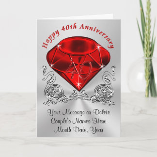 Personalized Ruby Anniversary Cards with YOUR TEXT