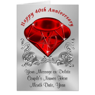 Ruby Wedding Gift Ideas For Husband : Personalized Ruby Anniversary Cards with YOUR TEXT