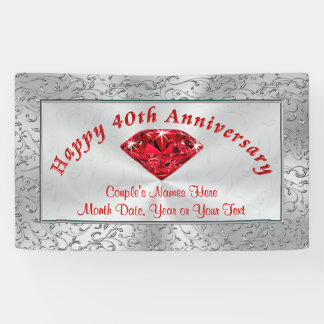 Personalized Ruby Happy 40th Anniversary Banners