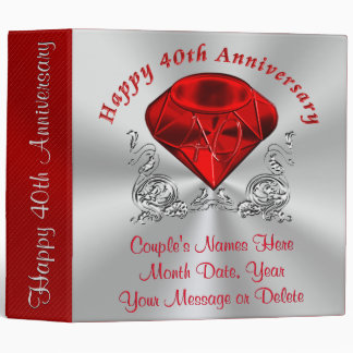 Personalized Ruby Wedding Anniversary Photo Album 3 Ring Binder