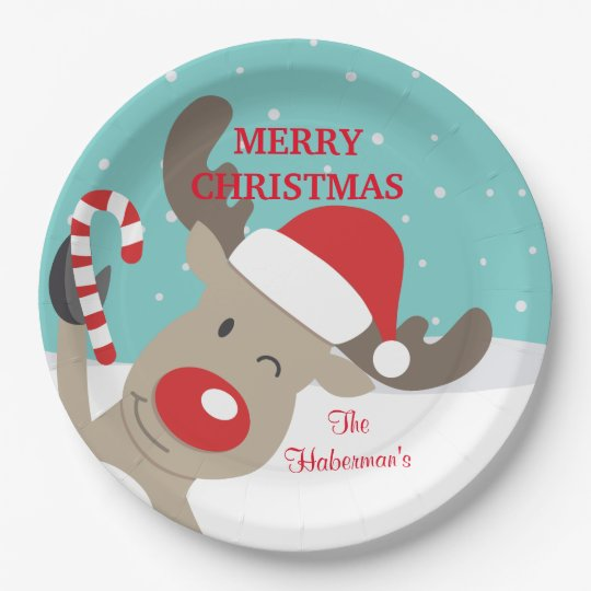 Personalized Rudolph Reindeer with Candy Cane Paper Plate  sc 1 st  Zazzle & Personalized Rudolph Reindeer with Candy Cane Paper Plate | Zazzle.com