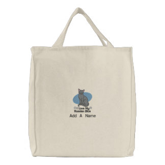 Personalized Russian Blue Cat Tote Bag