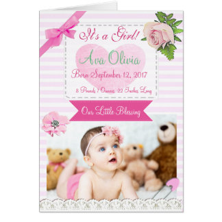 Personalized Rustic Baby  Photo Birth Announcement