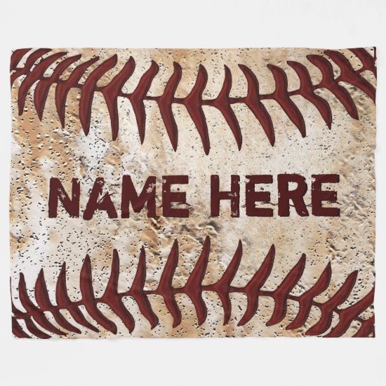 Personalized Rustic Baseball Blanket, YOUR TEXT