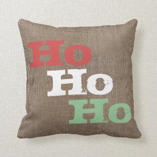 Personalized Rustic Burlap-Look Christmas Ho Ho Ho Throw Pillow