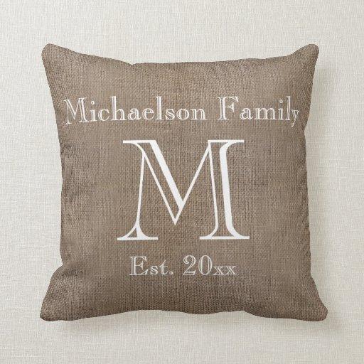 Personalized Rustic Burlap-Look Family Keepsake Throw Pillow