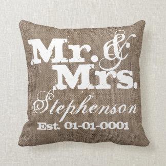 Personalized Rustic Burlap-Look Wedding Keepsake Throw Pillows