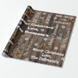 "Personalized Rustic Christmas Wooden Fence Wrapping Paper<br><div class=""desc"">Add a personal touch to your gift giving with this rustic wooden fence gift wrap with name personalization,  mistletoes and snowflakes . Happy Holidays!</div>"