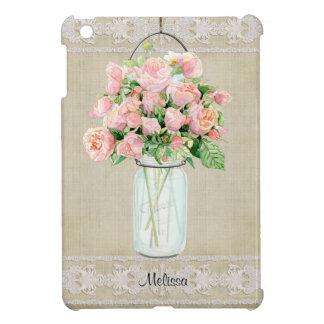 Personalized Rustic Country Mason Jar Blush Rose Cover For The iPad Mini