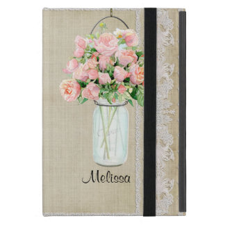 Personalized Rustic Country Mason Jar Blush Rose Covers For iPad Mini