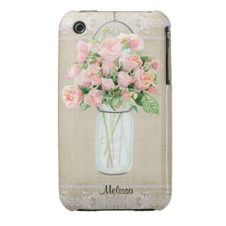 Personalized Rustic Country Mason Jar Blush Rose iPhone 3 Case-Mate Case