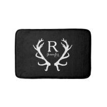 Personalized Rustic Deer Antlers Monogram Bath Mat