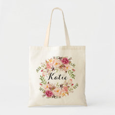 Personalized Rustic Floral Braidsmaid Tote Bag at Zazzle