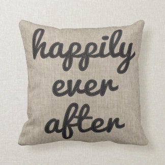 Personalized Rustic Happily Ever After Stitching Throw Pillow