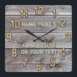 """Personalized Rustic Lake House Wall Decor, Clock<br><div class=""""desc"""">Personalized Rustic Lake House Wall Decor, Clock. Faux rustic wood call clocks with or without YOUR TEXT or DELETE the temporary text. Type in your First or Family&#39;s Last Name and Your Favorite Lake House Saying. CALL Designers Rodney or Linda: 239-949-9090, to assist you in changing the text or to...</div>"""