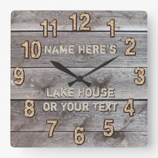 Personalized Rustic Lake House Wall Decor, Clock