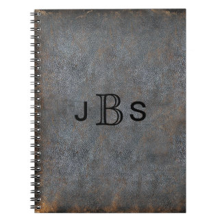Personalized Rustic Leather | Monogrammed Initials Spiral Notebook