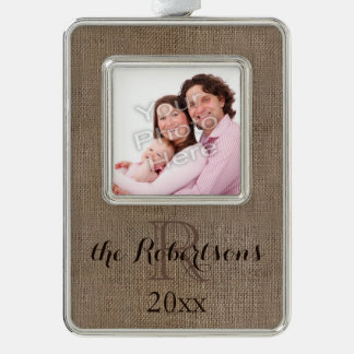Personalized Rustic Monogram Family Name Photo Ornament