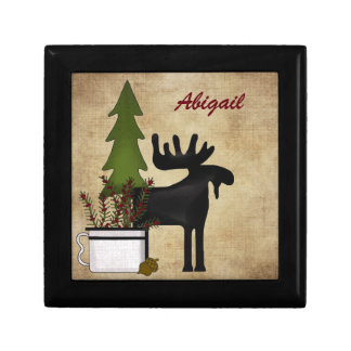 Personalized Rustic Moose Trinket Jewelry Gift Box