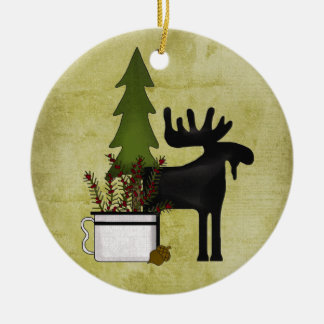 Personalized Rustic Mountain Country Moose Holiday Double-Sided Ceramic Round Christmas Ornament