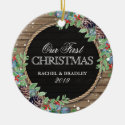Personalized Rustic Our First Christmas Winter Ceramic Ornament