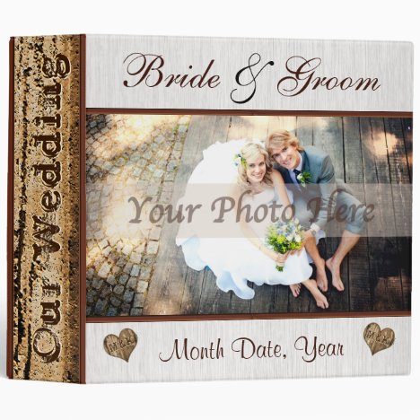 Personalized Rustic Photo Wedding Album Binder