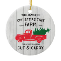 Personalized Rustic Red Vintage Truck Christmas Ceramic Ornament