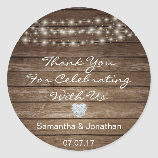 Personalized Rustic String Lights Wood Wedding Classic Round Sticker