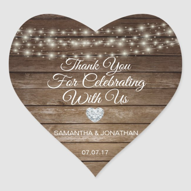 Personalized Rustic String Lights Wood Wedding Heart Sticker
