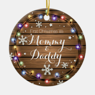 Personalized Rustic Stringlight Christmas Ornament