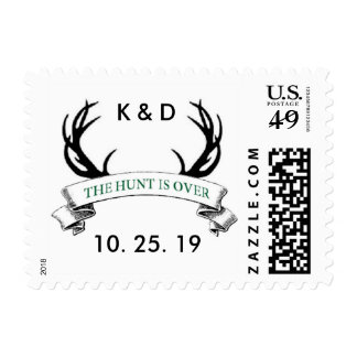 Personalized Rustic The Hunt is Over Wedding Stamp