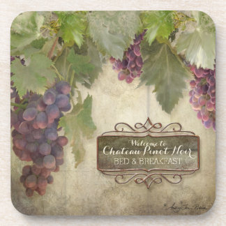Personalized Rustic Vineyard Winery Fall Wine Sign Beverage Coaster