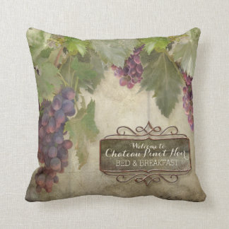 Personalized Rustic Vineyard Winery Fall Wine Sign Throw Pillow