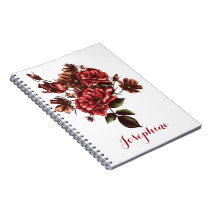 Personalized Rustic Vintage Red Roses notebook