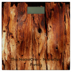 Personalized Rustic Weathered Wood With Knothole Bathroom Scale at Zazzle