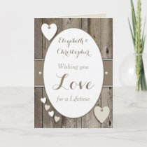 Personalized Rustic Wedding Day Card
