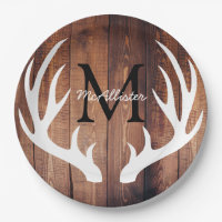 Personalized - Rustic White Deer Antlers Barn Wood Paper Plate