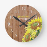 Personalized Rustic Wood And Sunflower Kitchen Round Clock