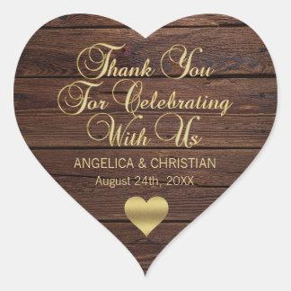 Personalized RUSTIC Wood Barn Gold Wedding Heart Sticker
