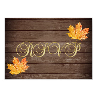 Personalized Rustic Wood Country Fall RSVP Wedding Invitation
