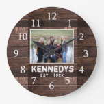 Personalized Rustic Wood Family Photo Large Clock
